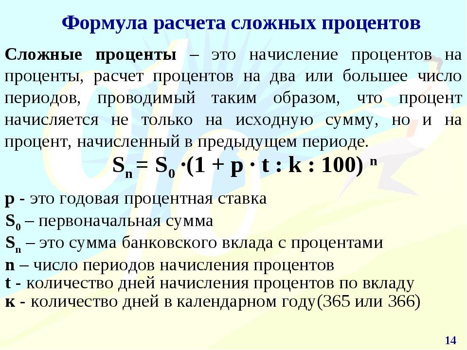 шпаргалка по формула сложных процентов