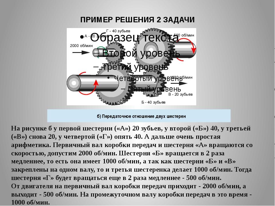ПРИМЕР РЕШЕНИЯ 2 ЗАДАЧИ На рисункебу первой шестерни («А») 20 зубьев, у вто...