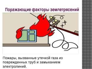 Поражающие факторы землетрясений Пожары, вызванные утечкой газа из поврежденн