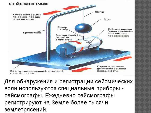 Для обнаружения и регистрации сейсмических волн используются специальные приб...