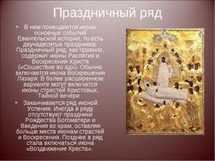 Праздничный ряд В нем помещаются иконы основных событий Евангельской истории,