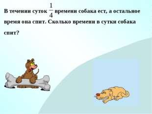 В течении суток времени собака ест, а остальное время она спит. Сколько време