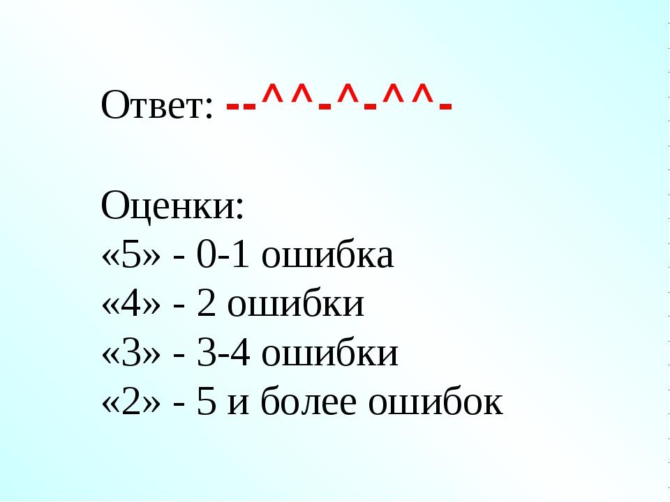 Ответ: --^^-^-^^- Оценки: «5» - 0-1 ошибка «4» - 2 ошибки «3» - 3-4 ошибки «2...
