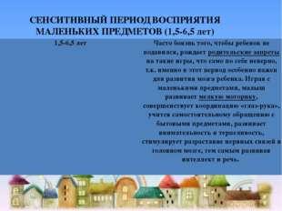 СЕНСИТИВНЫЙ ПЕРИОД ВОСПРИЯТИЯ МАЛЕНЬКИХ ПРЕДМЕТОВ (1,5-6,5 лет) 1,5-6,5 лет Ч