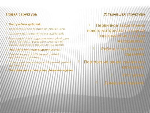 Новая структура Устаревшая структура Этап учебных действий: Определение пути...
