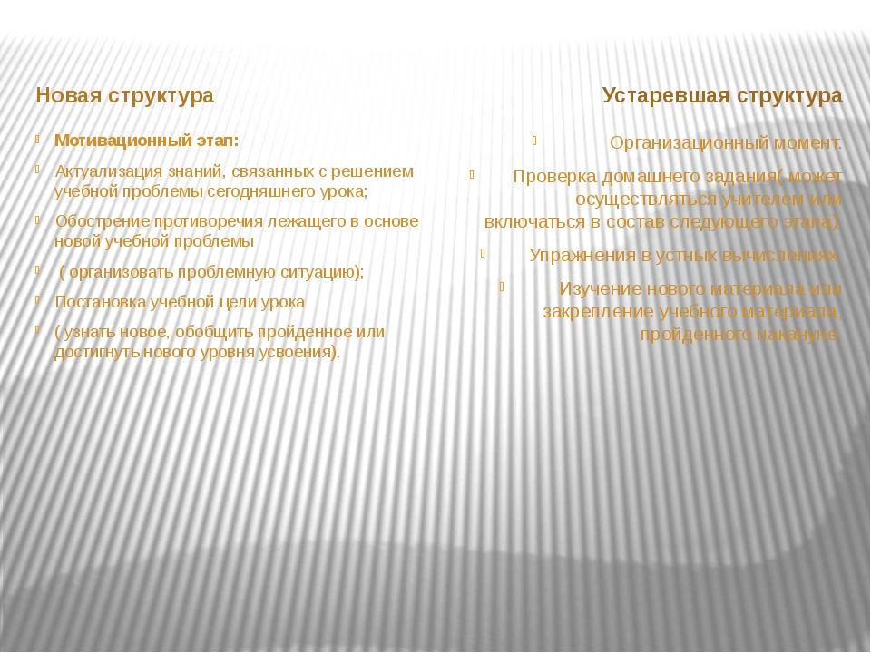 Новая структура Устаревшая структура Мотивационный этап: Актуализация знаний...