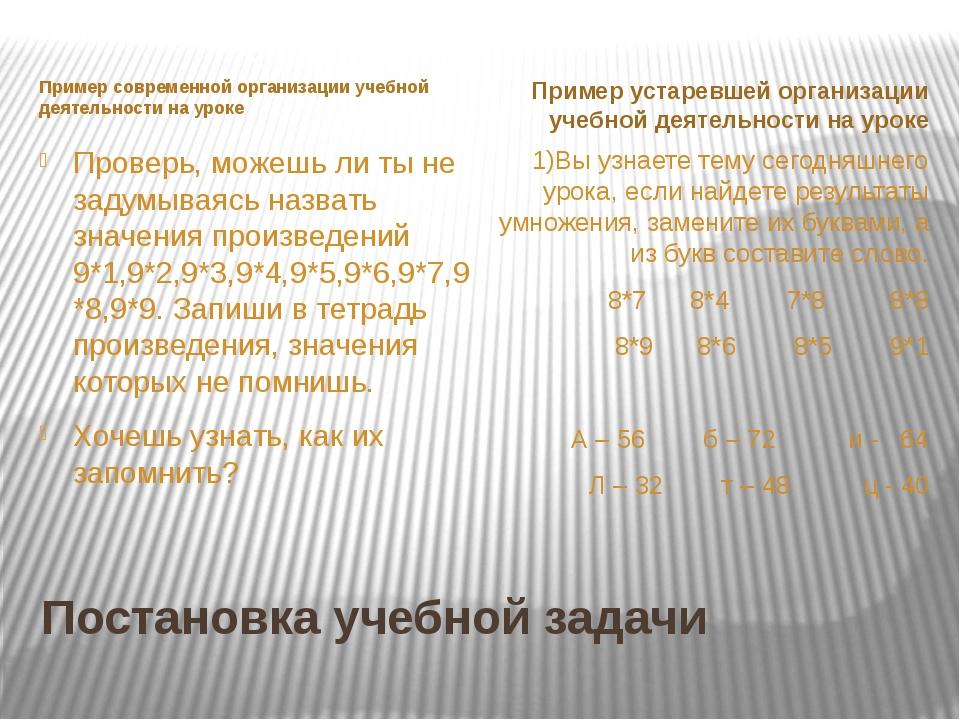 Постановка учебной задачи Пример современной организации учебной деятельности...