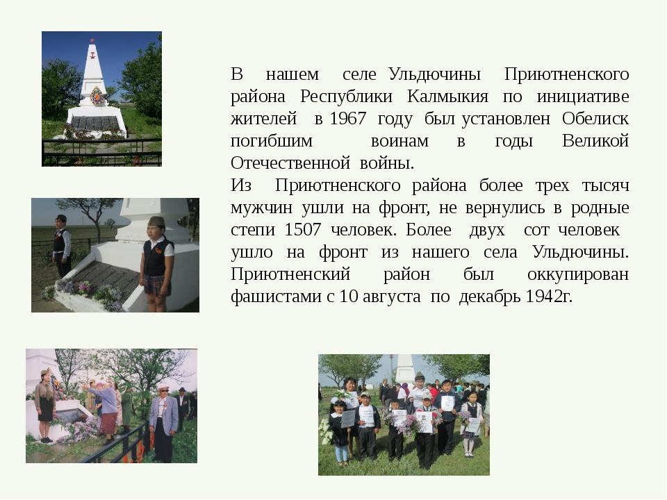 В нашем селе Ульдючины Приютненского района Республики Калмыкия по инициативе...