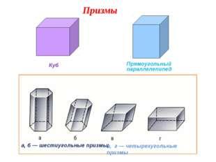а, б — шестиугольные призмы; в, г — четырехугольные призмы Куб Прямоугольный
