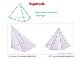 Пирамиды Треугольная пирамида (тетраэдр) Четырехугольная пирамида Шестиугольн