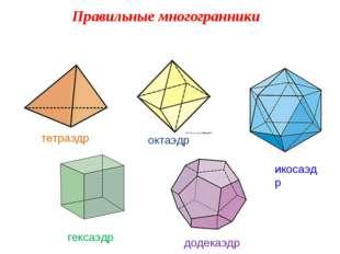 Правильные многогранники тетраэдр октаэдр икосаэдр гексаэдр додекаэдр