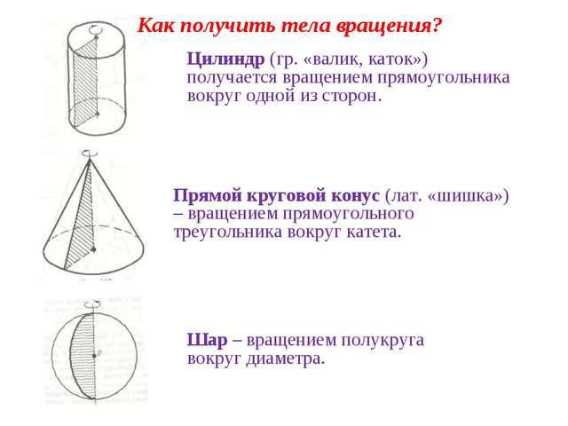 Цилиндр (гр. «валик, каток») получается вращением прямоугольника вокруг одной...