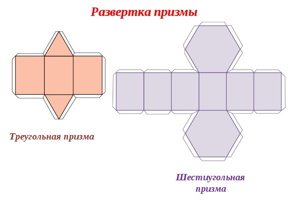 Развертка призмы Треугольная призма Шестиугольная призма