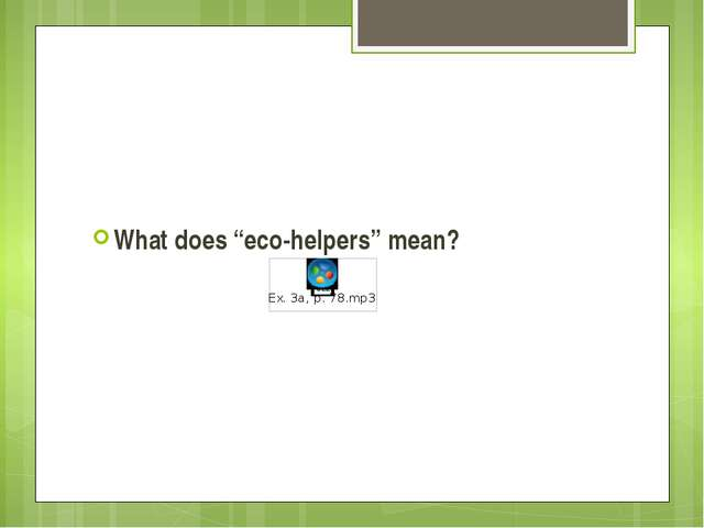 "What does ""eco-helpers"" mean?"