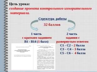 Цель урока: создание проекта контрольного измерительного материала. Структура
