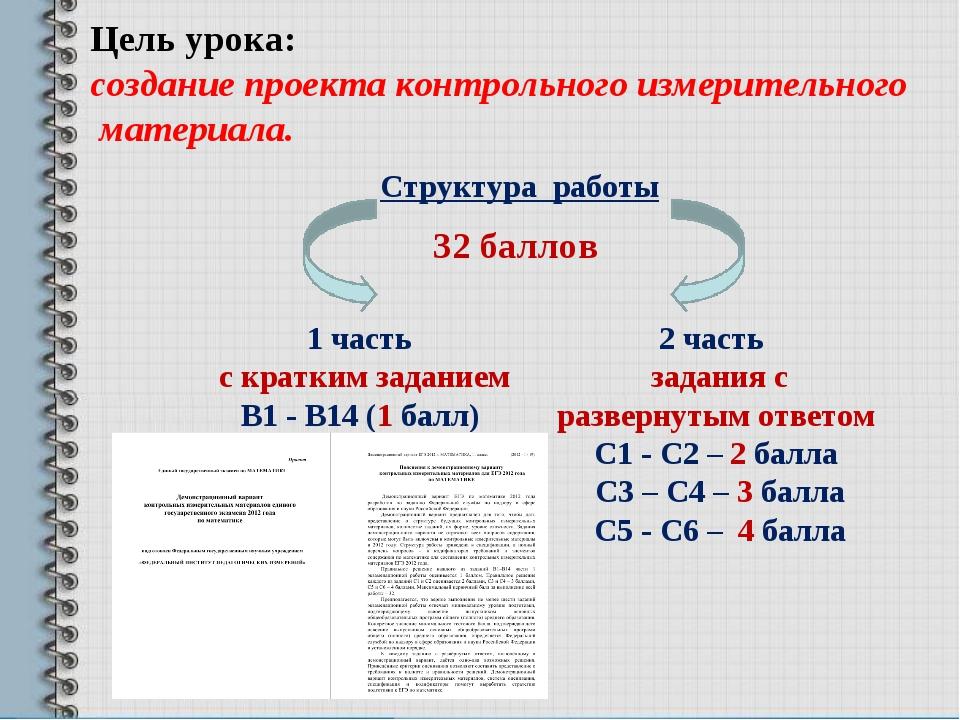 Цель урока: создание проекта контрольного измерительного материала. Структура...