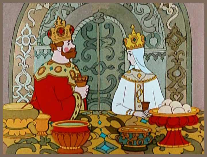 Сказки Пушкина. Царь Салтан за пир честной сел с царицей молодой