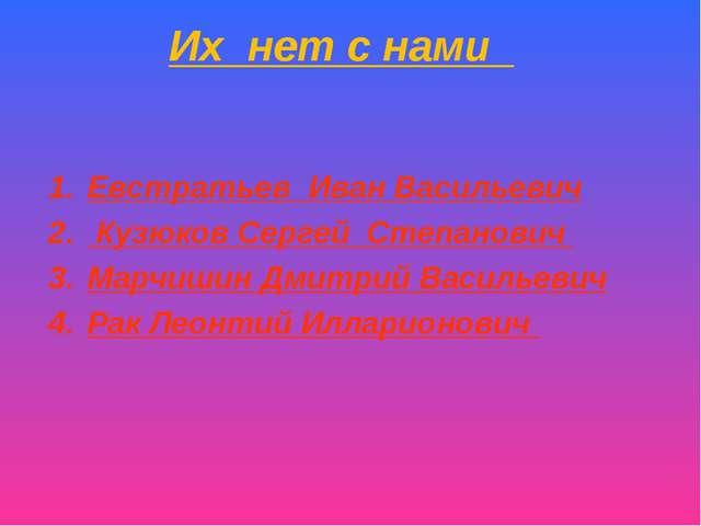 Их нет с нами Евстратьев Иван Васильевич Кузюков Сергей Степанович Марчишин Д...