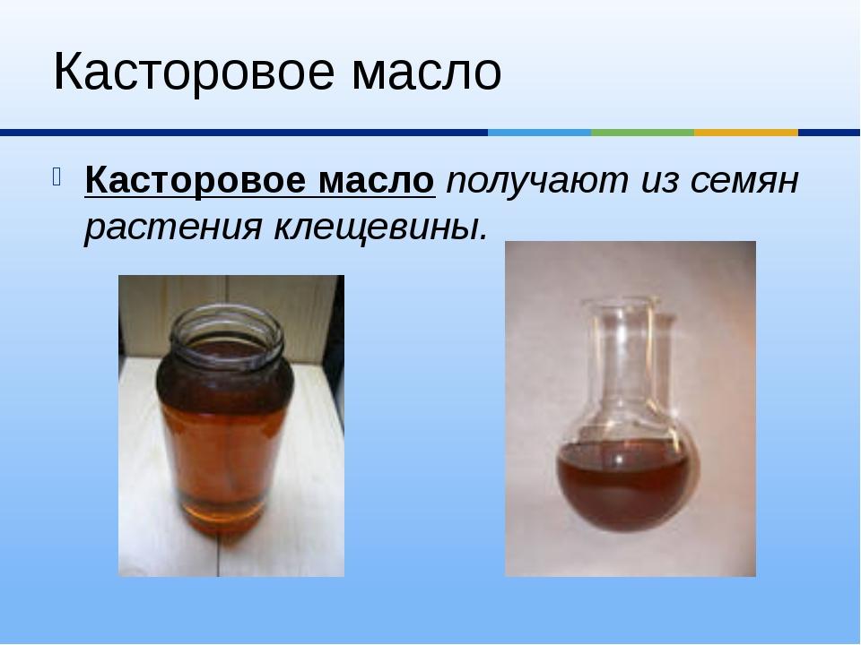 Касторовое масло Касторовое масло получают из семян растения клещевины.
