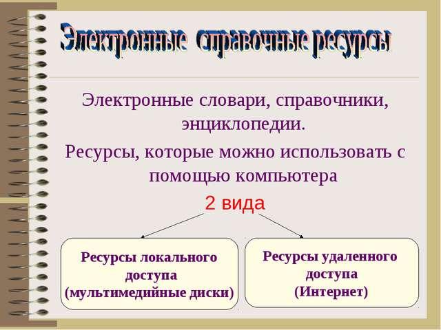Электронные словари, справочники, энциклопедии. Ресурсы, которые можно исполь...