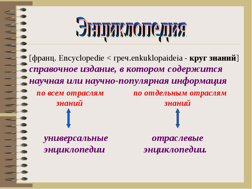 [франц. Encyclopedie < греч.enkuklopaideia - круг знаний] справочное издание,...