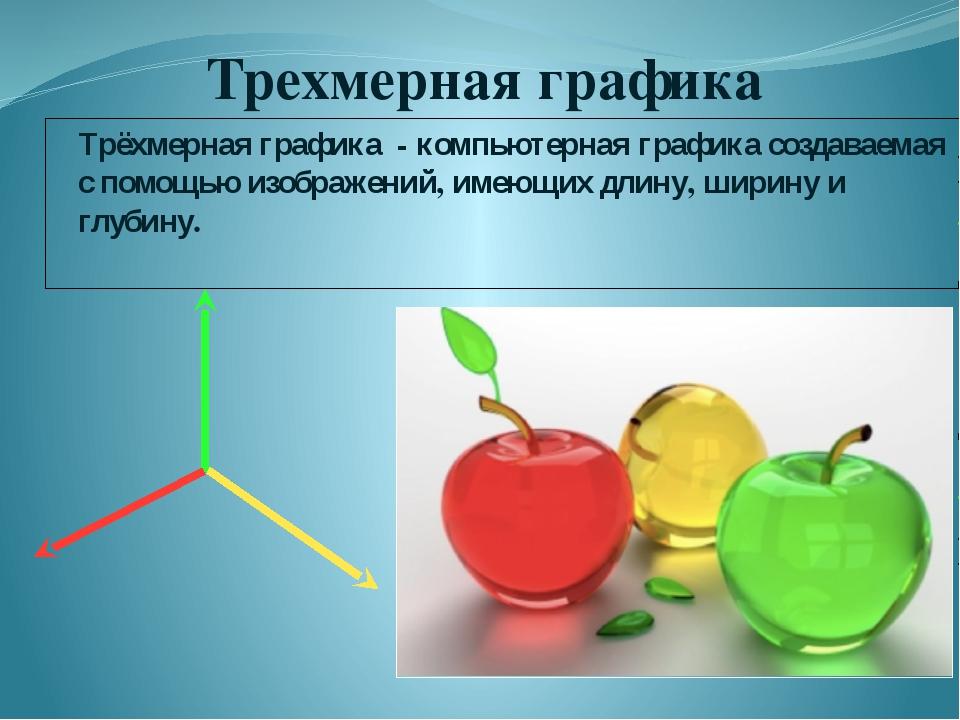 Трехмерная графика Трёхмерная графика - компьютерная графика создаваемая с по...