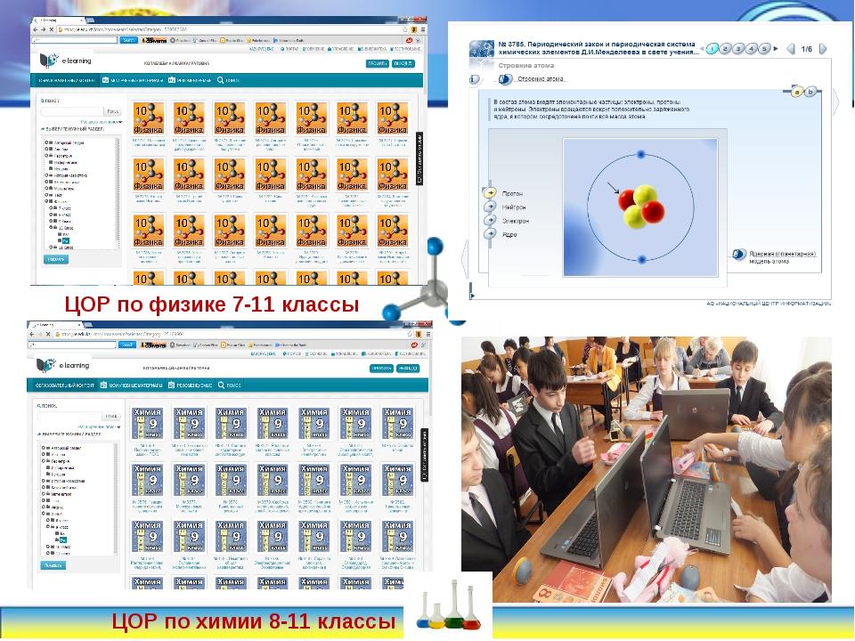 ЦОР по физике 7-11 классы ЦОР по химии 8-11 классы