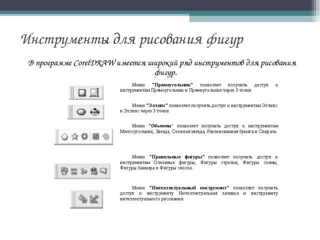 Инструменты для рисования фигур В программе CorelDRAW имеется широкий ряд инс...