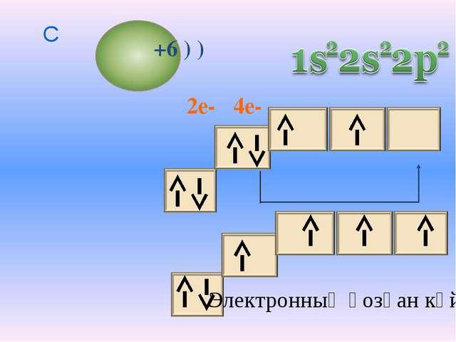 4e- 2e- +6 ) ) C Электронның қозған күйі