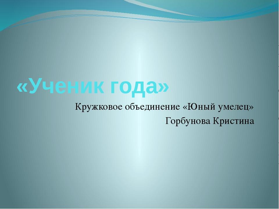 «Ученик года» Кружковое объединение «Юный умелец» Горбунова Кристина