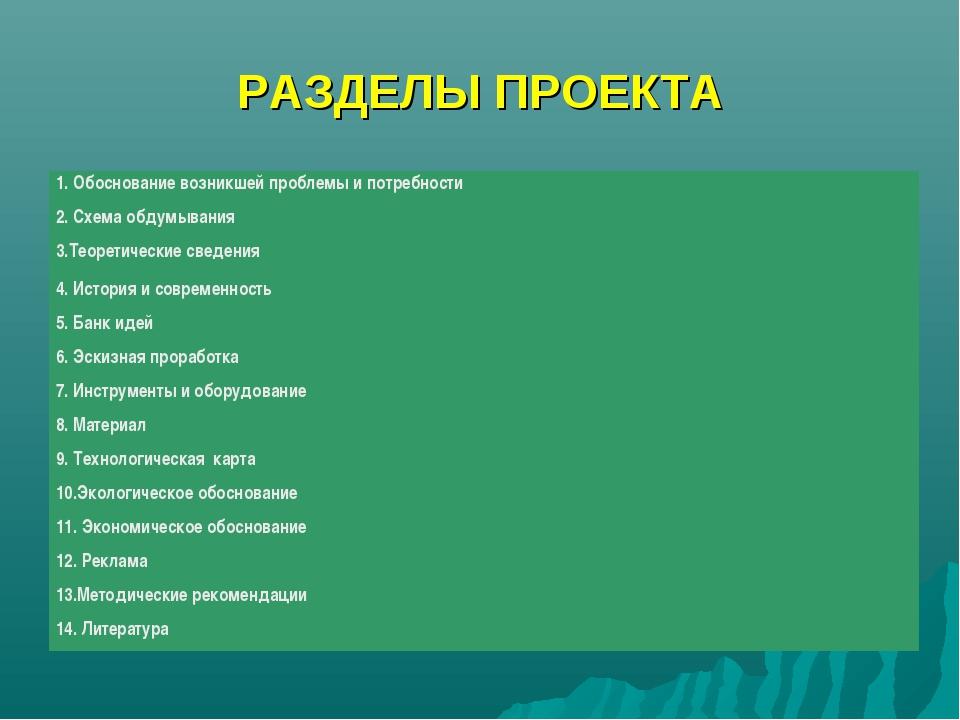 РАЗДЕЛЫ ПРОЕКТА 1. Обоснование возникшей проблемы и потребности 2. Схема обду...
