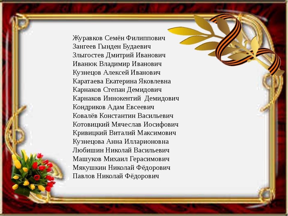 Журавков Семён Филиппович Зангеев Гынден Будаевич Злыгостев Дмитрий Иванович...