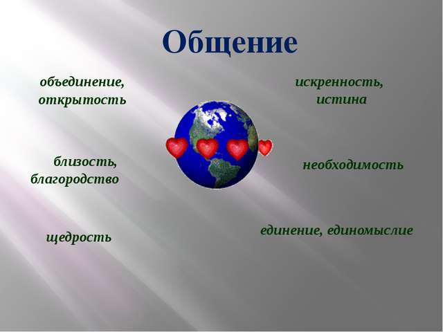 объединение, открытость близость, благородство щедрость искренность, истина...