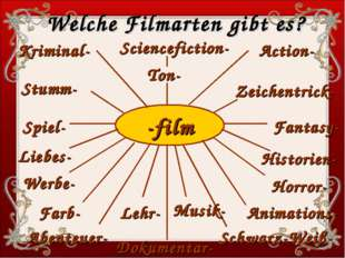 -film Sciencefiction- Kriminal- Action- Stumm- Zeichentrick- Spiel- Fantasy-