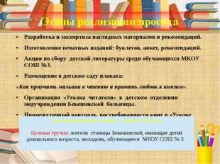 Этапы реализации проекта Разработка и экспертиза наглядных материалов и реком