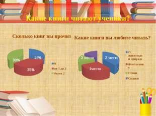 Какие книги читают ученики? 25% 35% 30% 1место 2 место 3 место