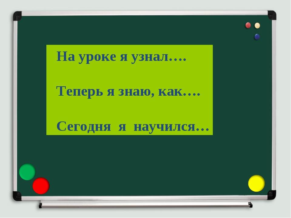 На уроке я узнал…. Теперь я знаю, как…. Сегодня я научился…