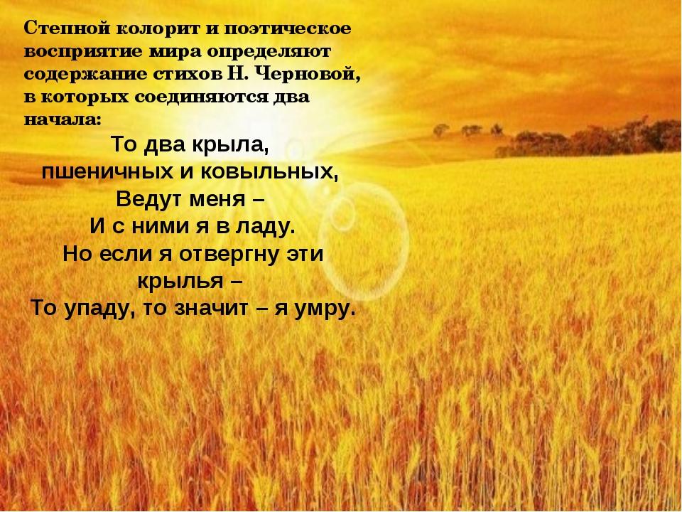 Степной колорит и поэтическое восприятие мира определяют содержание стихов Н....
