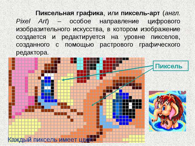 Пиксель Каждый пиксель имеет цвет. Пиксельная графика, или пиксель-арт (ан...