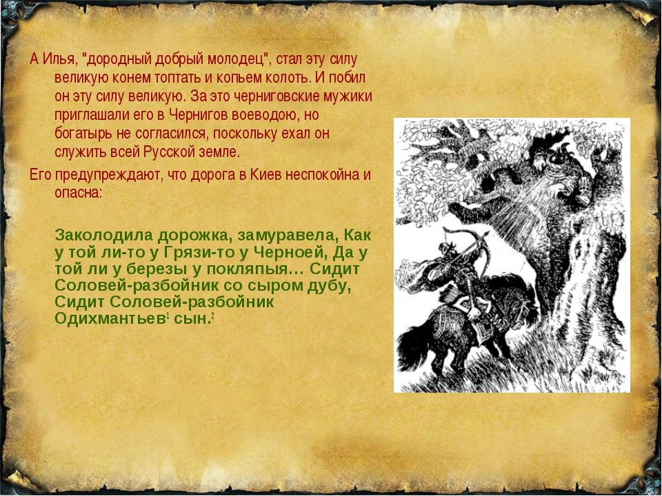 """А Илья, """"дородный добрый молодец"""", стал эту силу великую конем топтать и копь..."""