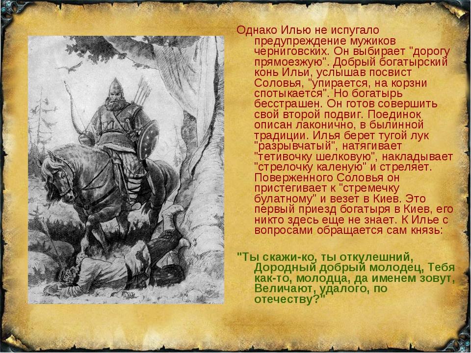 """Однако Илью не испугало предупреждение мужиков черниговских. Он выбирает """"дор..."""