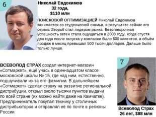 Николай Евдокимов 32года, $110 млн Всеволод Страх 26лет, $88 млн ПОИСКОВОЙ