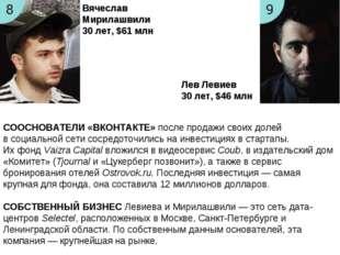 Вячеслав Мирилашвили 30лет, $61 млн Лев Левиев 30лет, $46 млн СООСНОВАТЕЛИ