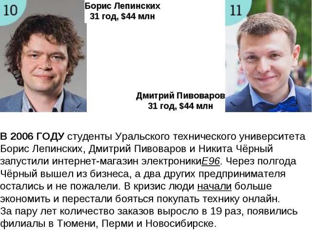 Борис Лепинских 31год, $44 млн Дмитрий Пивоваров 31год, $44 млн В2006 ГОДУ...