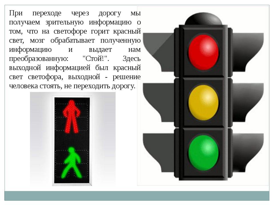 При переходе через дорогу мы получаем зрительную информацию о том, что на све...