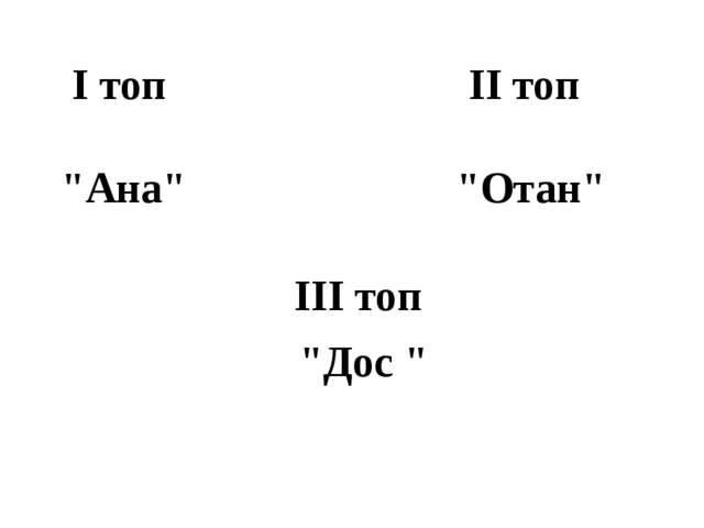 """I топ II топ """"Ана"""" """"Отан"""" """"Дос """" III топ"""