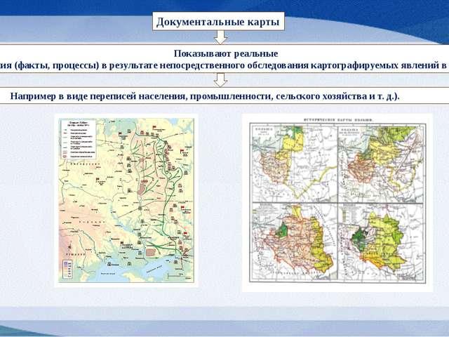 Документальные карты Показывают реальные явления (факты, процессы) в результа...