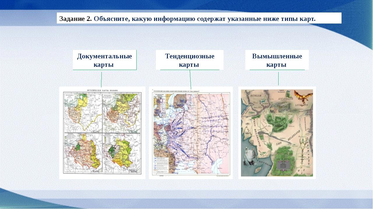 Задание 2. Объясните, какую информацию содержат указанные ниже типы карт. До...