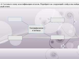Задание 4. Составьте схему классификации атласов. Перейдите на следующий слай