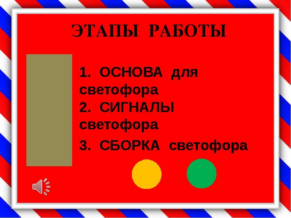ЭТАПЫ РАБОТЫ 1. ОСНОВА для светофора 2. СИГНАЛЫ светофора 3. СБОРКА светофора